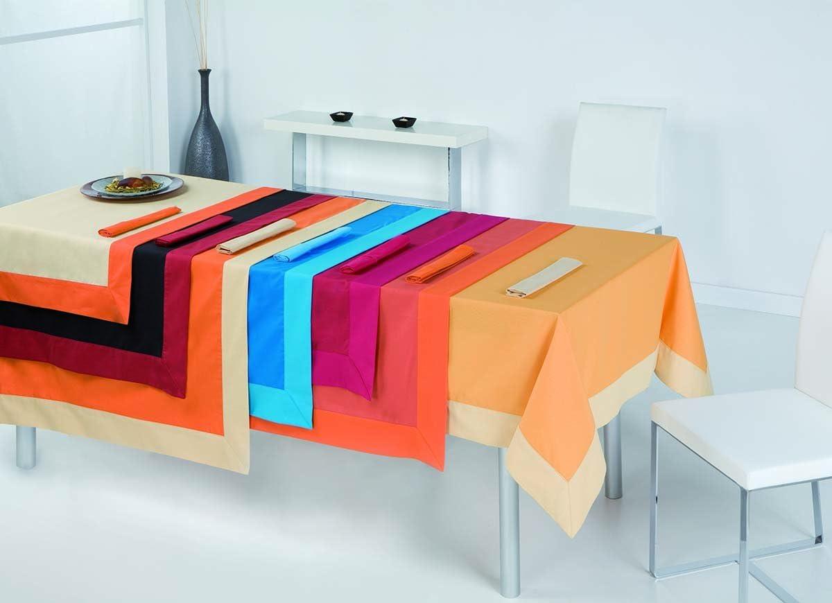 ESTELA - Mantel Antimanchas Lisos Color Beige - 155x250 cm. - Confección en Aplique - Incluye 12 servilletas - 60% Algodón / 40% Poliéster: Amazon.es: Hogar