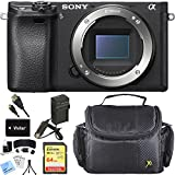 Sony ILCE-6300 a6300 4K Mirrorless Camera Body Accessory Bundle includes Camera, HDMI Cable, Battery, Charger, 64GB SDXC Memory Card, Bag, Screen Protectors, Cleaning Kit, Beach Camera Cloth and More