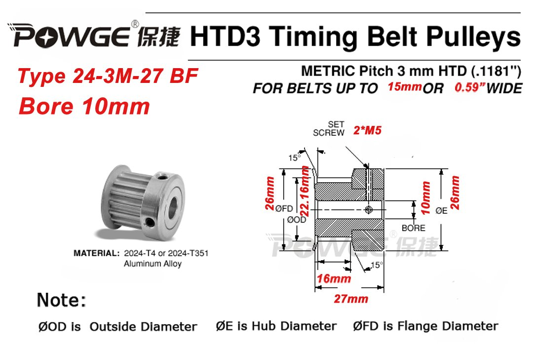 POWGE 3pcs HTD 3M Timing Pulley 24 Teeth Bore 10mm /& 3Meters 3M Open Timing Belt Width 15mm for CNC Laser Engraving Machines