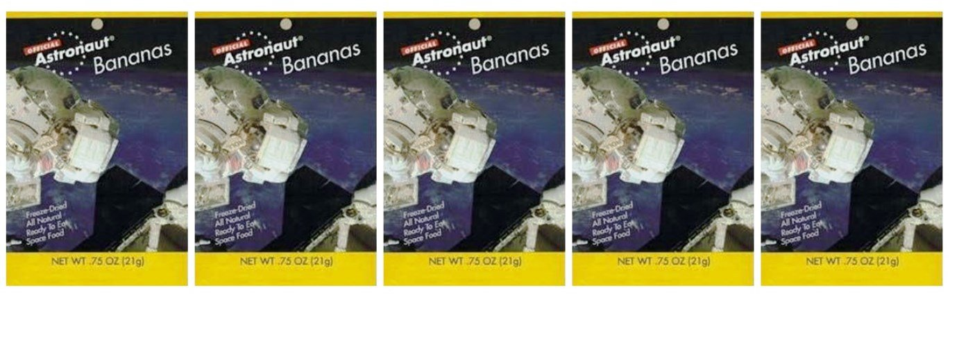 Astronaut Foods Freeze-Dried Space Food Fruit - Bananas - Pack of 5, .75 Ounces Each