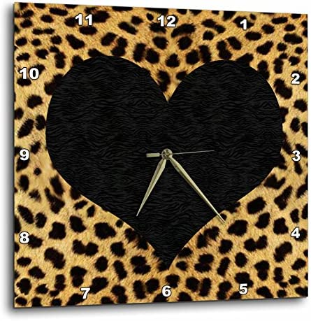 3dRose DPP_20394_3 Punk Rockabilly Cheetah Animal Print Black Heart Wall Clock, 15 by 15-Inch