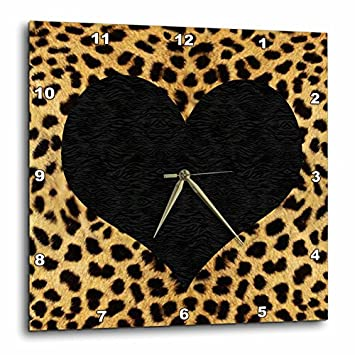 3dRose DPP_20394_3 Punk Rockabilly Cheetah Animal Print Black Heart Wall Clock, 15 by 15-Inch