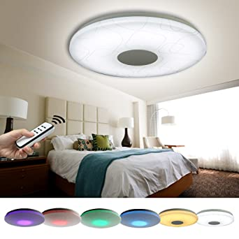 Natsen® LED Deckenlampe 24W RGB voll dimmbar X809 mit Fernbedienung ...