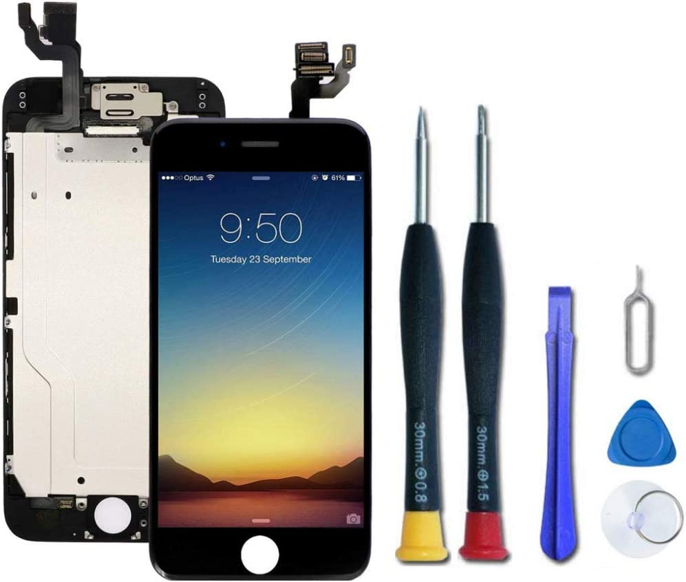 Pre-Assembled Replacement Screen Compatible with iPhone 6, LCD Display and Touch Screen Digitizer Replacement for A1549, A1586, A1589 with Front Camera, Ear Speaker,Proximity Sensor. (Black)