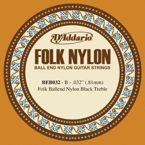 D'Addario BEB032 Folk Nylon Guitar Single String, Black Nylon, Ball End, .032