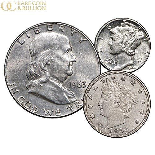 Franklin Half Dollar Value - 1883 No Cents Liberty V Nickel, Mercury Dime & Franklin Silver Half Dollar 3 Coin Set, AU About Uncirculated