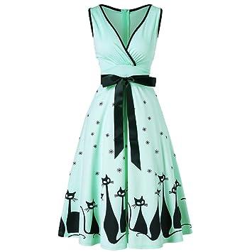 75daea4fbbdf Women Dress Clearance! Daoroka Sexy Sleeveless V-neck Retro Cat Print Large  Size Fashion