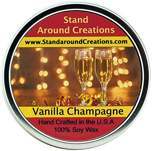 Premium 100% All Natural Soy Wax Aromatherapy Candle - 16oz Tin - Scent: Vanilla Champagne - A sparkling accent creates a fizzy effect for the citrus top notes of lime and orange to open this blend. Hints of green floral and rum liquor notes from the fragrant heart. Clear woody tones combine with earthy accents while a base of vanilla bean surrounds the fragrance.