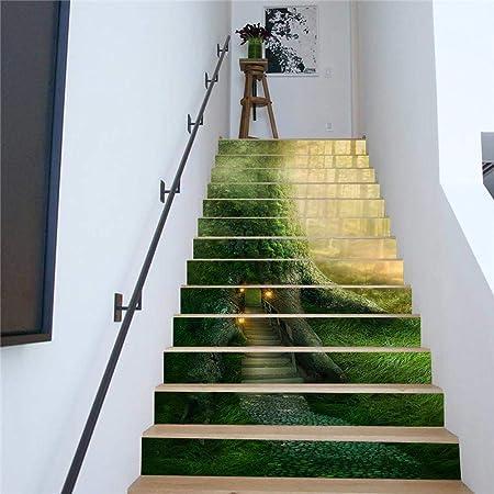 3D Escalera Calcomanías Impresión Gran Bosque Modelo del árbol Huellas de escalón Risers Etiquetas desprendible DIY Mural para el hogar Arte Decoración 13pzas / Set: Amazon.es: Hogar