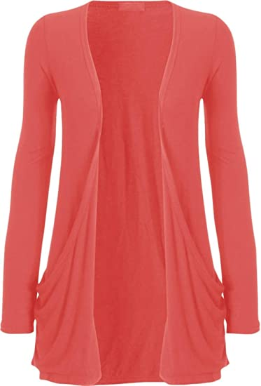 Zj Clothes Ladies Women Boyfriend Open Cardigan With Pockets Coral