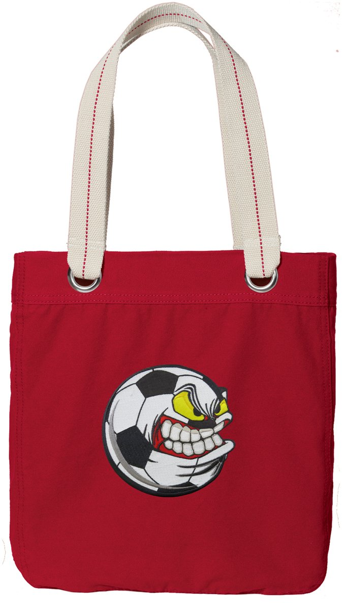 Soccer Nut Tote Bag RICH Dye Washed RED COTTON CANVAS