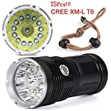 LED Torch Flashlight, 38000LM 15x CREE XM-L T6 LED Flashlight Torch 4x 18650 Hunting Light Lamp Torch Light Lamp 18650 Flashlights for Outdoor Sporting