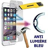 Lot 2 Films Écran Verre Trempé Anti Lumière Bleu pour Apple iPhone 6/ 6s - TRANSPARENT