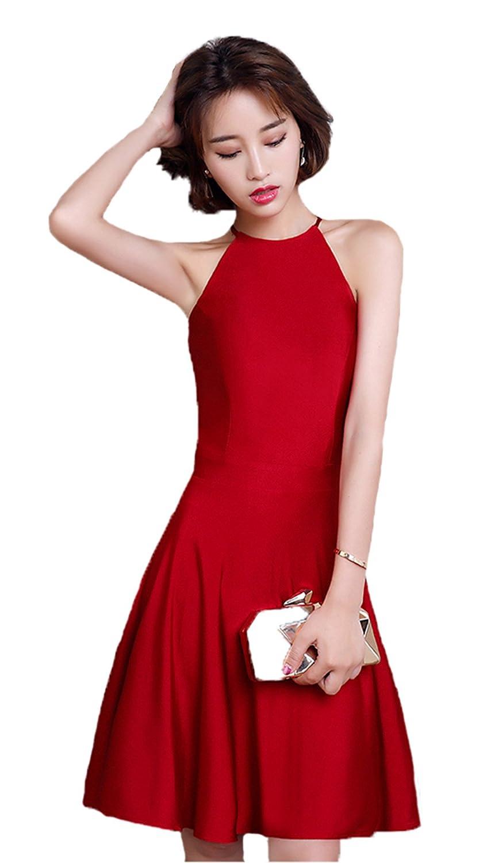 Burgundy pinkFASHION Womens Short Halter Homecoming Dress Prom Gown