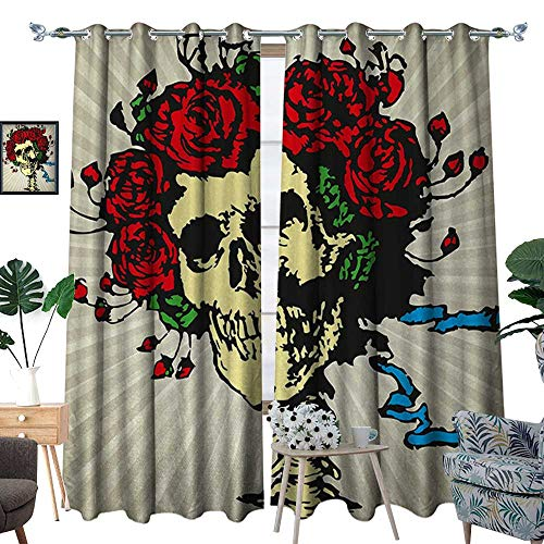 RenteriaDecor Rose Waterproof Window Curtain Tattoo Art Style Graphic Skull in Red Flowers Crown Halloween Composition Print Blackout Draperies for Bedroom W72 x L96 Beige Multicolor -