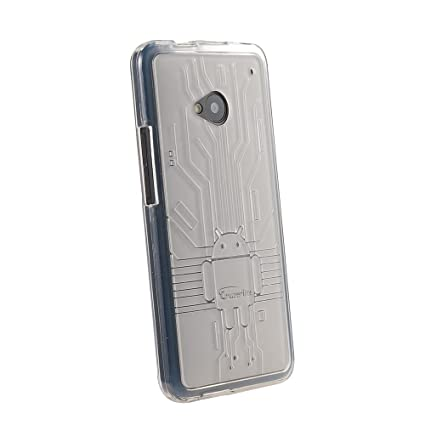 on sale c47c6 f03f9 HTC One Case, Cruzerlite Bugdroid Circuit TPU Case Compatible for HTC One  (M7) - Clear