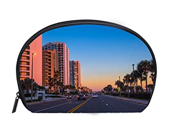 Amazon.com : Multi-function/Half-moon Cosmetic Bag Daytona Beach Florida Travel Cosmetic Case Luxury Makeup Artist Bag : Beauty