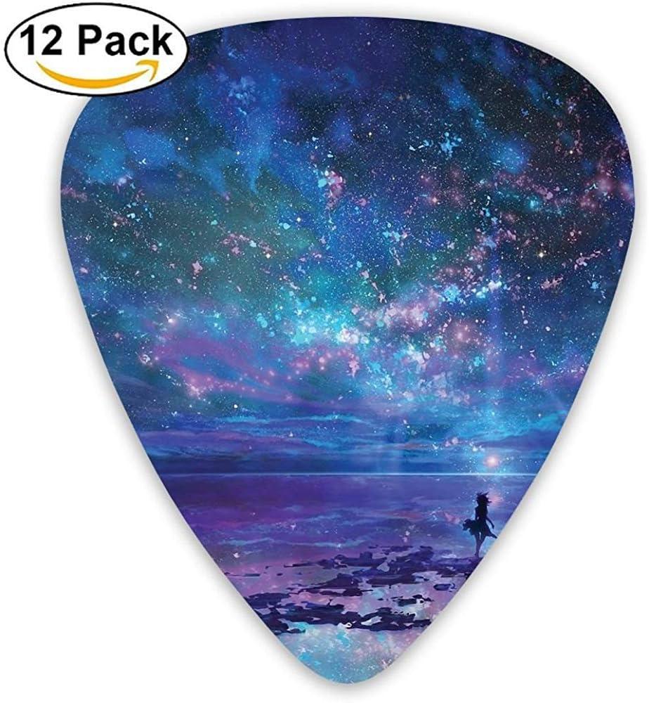 Paquete de 12 Elecciones de guitarra eléctrica clásica de moda Plectrums Stars Sky Seaside Instrument Guitarrista bajo estándar
