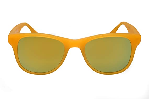 amoloma - Gafas de sol con cristales de espejo dorado mate y ...