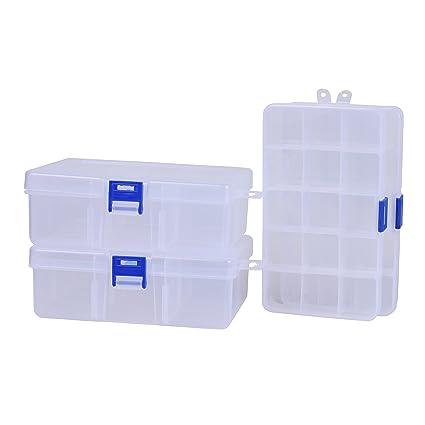 Paquete de 4 cajas de almacenamiento de plástico con divisores ajustables para dijes, joyas,