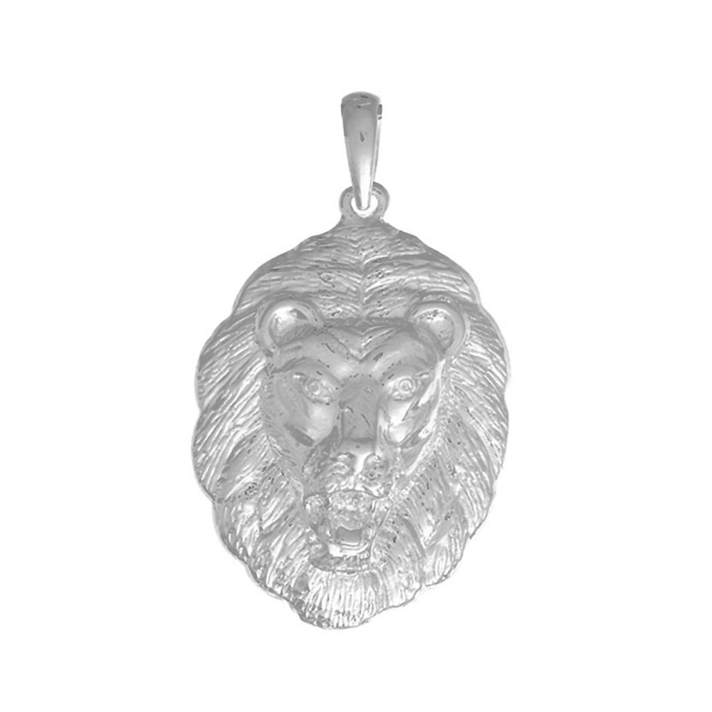 925 Sterling Silver Animal Charm Pendant, Large Lion Head, Full Mane