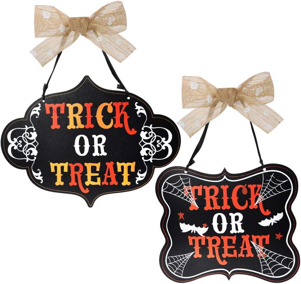 JOYIN Halloween Trick or Treat Wooden Door Hanging Sign for Hocus Pocus Decorations