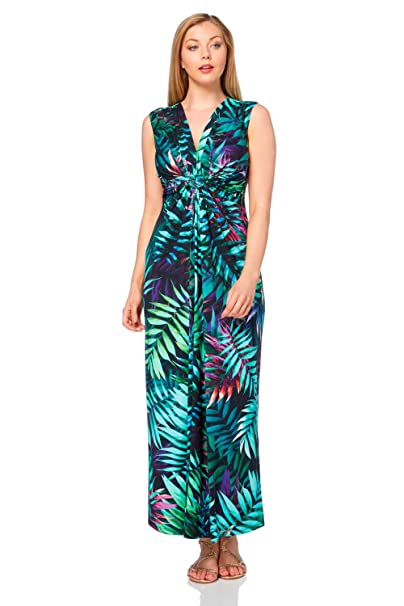5af392a392ba Roman Originals Women Tropical Print Maxi Dress - Ladies Summer Occasion  Party Daywear Casual Holiday Beach Evening Dinner Floor Length Sleeveless V  Neck ...