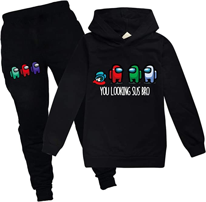 Kids Boys Girls Among Us Game Impostor Tracksuit Hoodie Pants Sport Gym Outfits