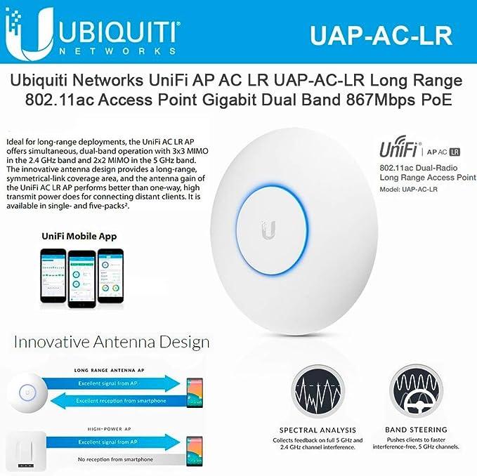 Ubiquiti UniFi UAP-AC-LR Punto de acceso 802.11ac de largo alcance Gigabit PoE