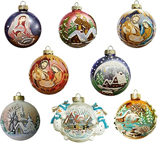 Idea Mobile Bolas Navidad pintadas A Mano Paquete de 8 Bolas de Navidad como Decoraciones navideñas árbol de Navidad: Amazon.es: Hogar
