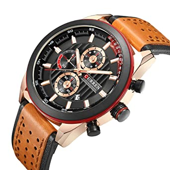 Sport Watches Mens Quartz Leather Strap Date Multi-Function Wristwatch Reloj Hombre Mens Military