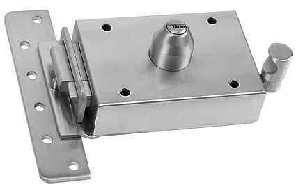 Inceca 3670005 - Cerradura de sobreponer contra palanca, doble cilindro, izquierda (acero,