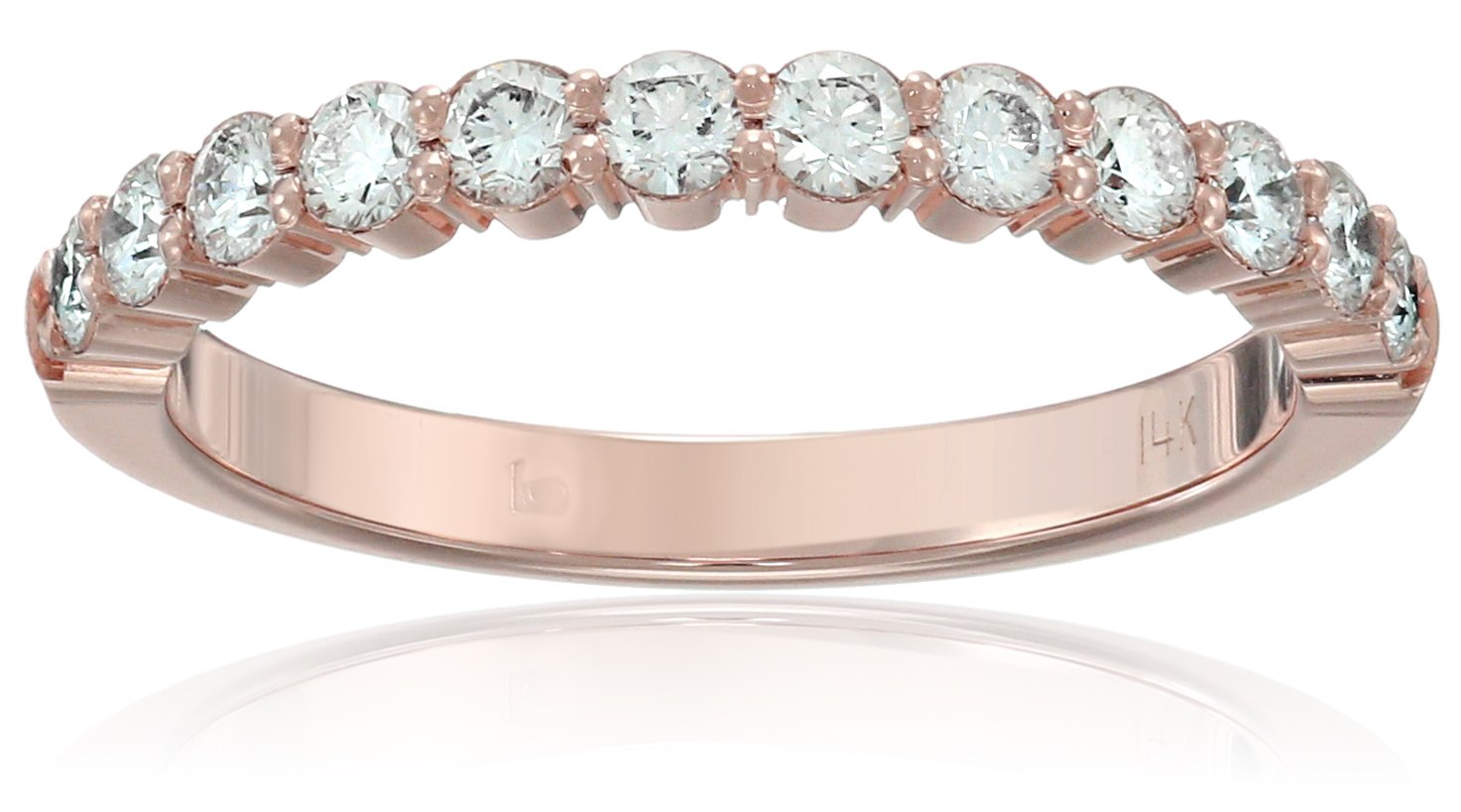 14k Rose Gold 2.5mm Shared Prong Wedding Band Stackable Ring (1/2cttw, SI1, G Color), Size 7