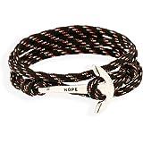Pulsera «Esperanza» de Belons con forma de ancla, unisex, pulsera trenzada, cuerda de nailon, negro o verde
