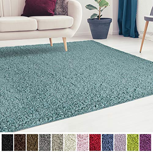 (iCustomRug Cozy and Soft Solid Shag Rug 10X12 Turquoise/Aqua Blue Ideal to Enhance Your Living Room and Bedroom Decor)