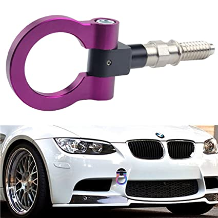 Dewhel Jdm Aluminum Track Racing Front Rear Bumper Car Accessories Auto Trailer Ring Eye Towing Tow Hook Kit Purple Screw On For Bmw 1 3 5 Series X5