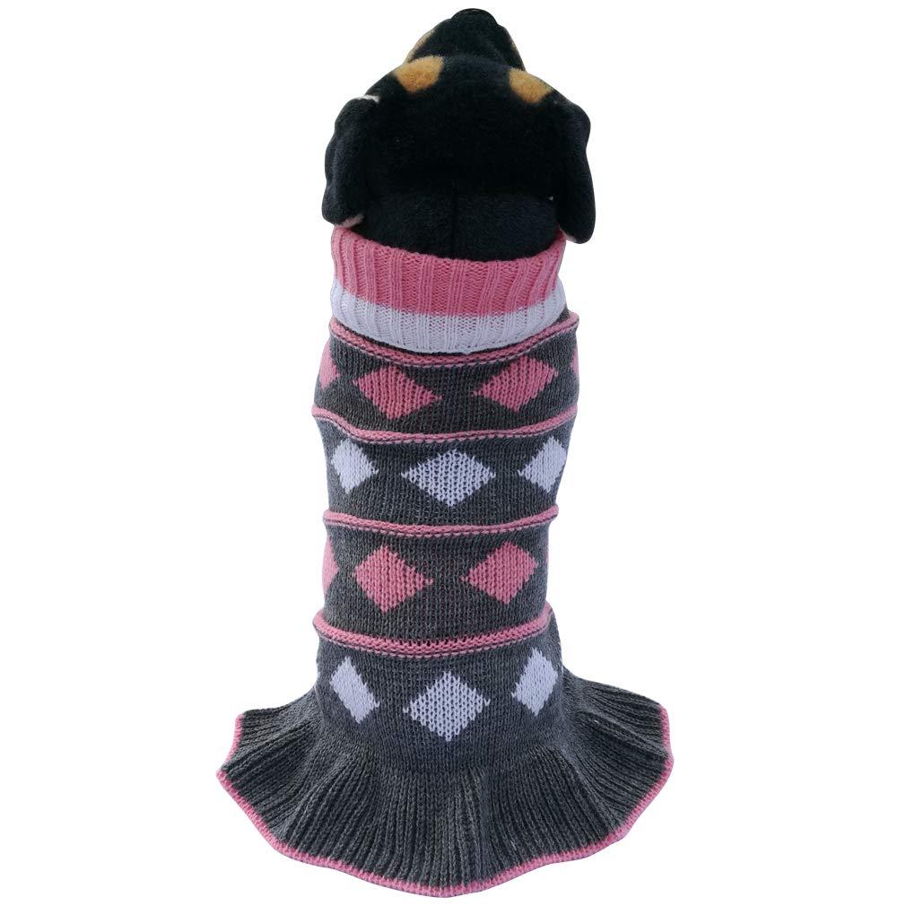 Jecikelon Pet Dog Long Sweaters Dress Knitwear Turtleneck Pullover Warm Winter Puppy Sweater Long Dresses