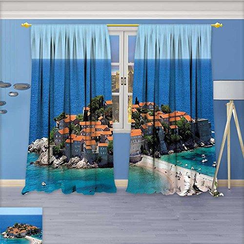 (Nalahome Linen Blend Curtains - Balkans Panorama in Sveti Stefan Adriatic Coast Montenegro Village Pattern Print Curtain Window Curtain Panel, 96W x 84L Inch)