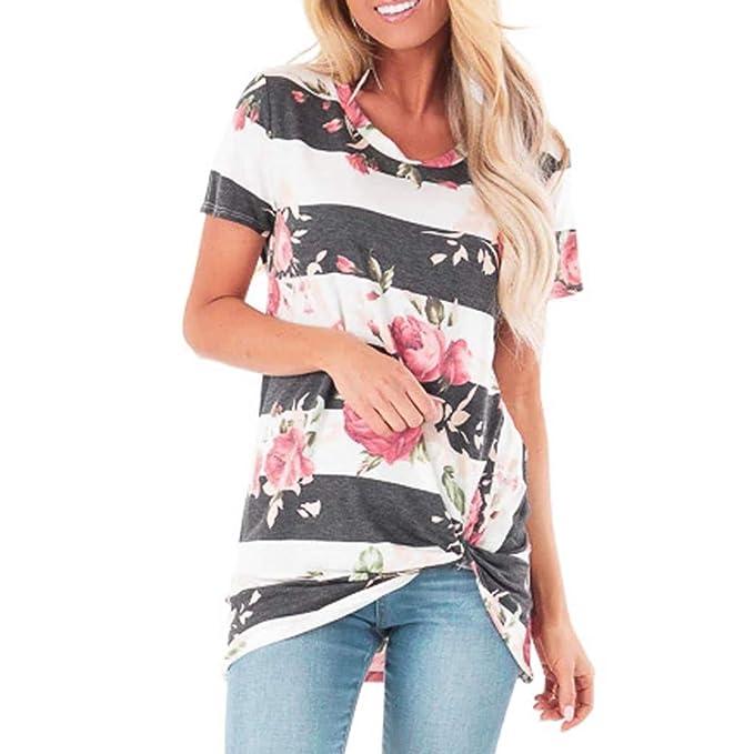 Amazon.com: TnaIolral - Blusa de manga corta para mujer ...