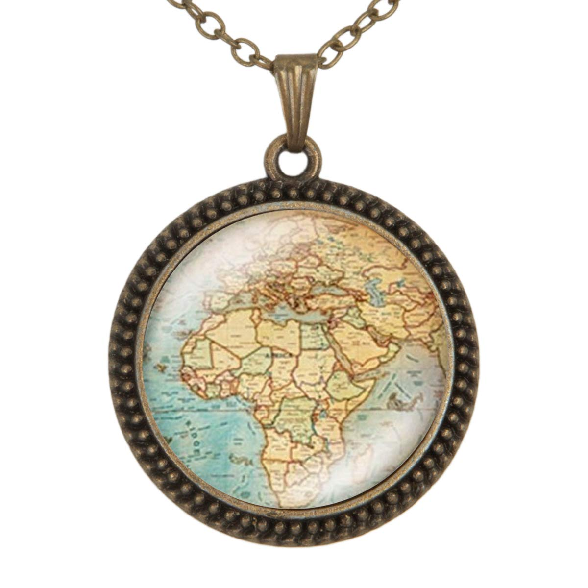 Family Decor Planet Earths World Map Art Pendant Necklace Cabochon Glass Vintage Bronze Chain Necklace Jewelry Handmade