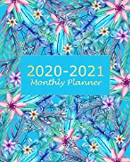 2020-2021 Monthly Planner: Blue Floral 2 Year Monthly Planner Calendar Schedule Organizer January 2020 to Dece