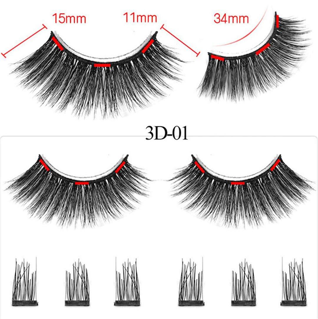 d07ca65dfb7 Amazon.com : 3 Magnet 3D Mink Magnetic Eyelashes Magnetic False Eyelashes  Strip Lashes Reusable Crisscross Fake Eye Lashes 1 : Beauty