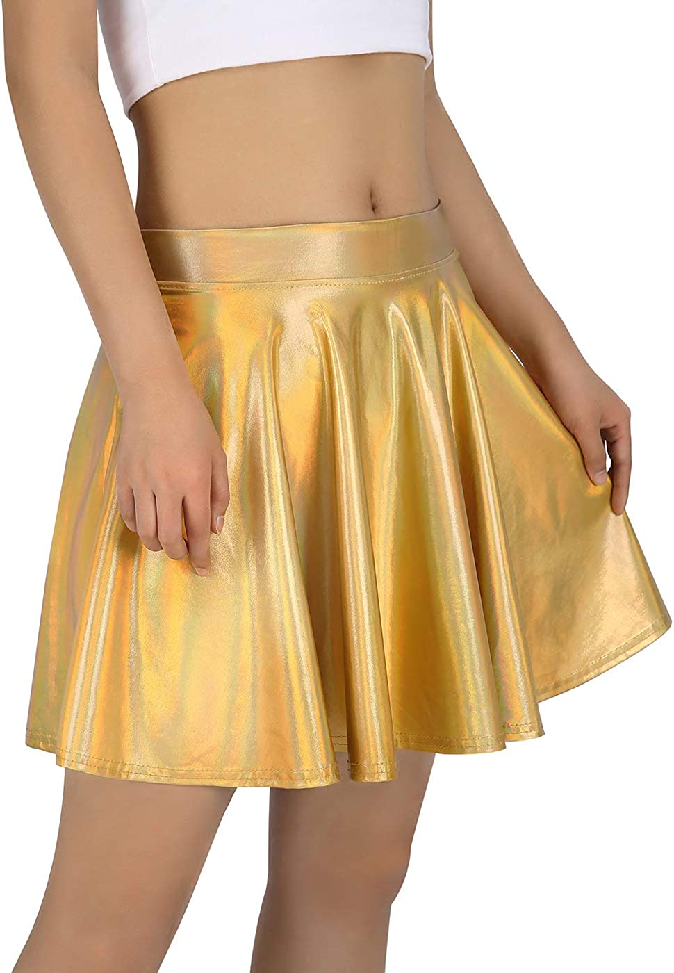 HDE Women's Shiny Liquid Metallic Holographic Pleated Flared Mini Skater Skirt