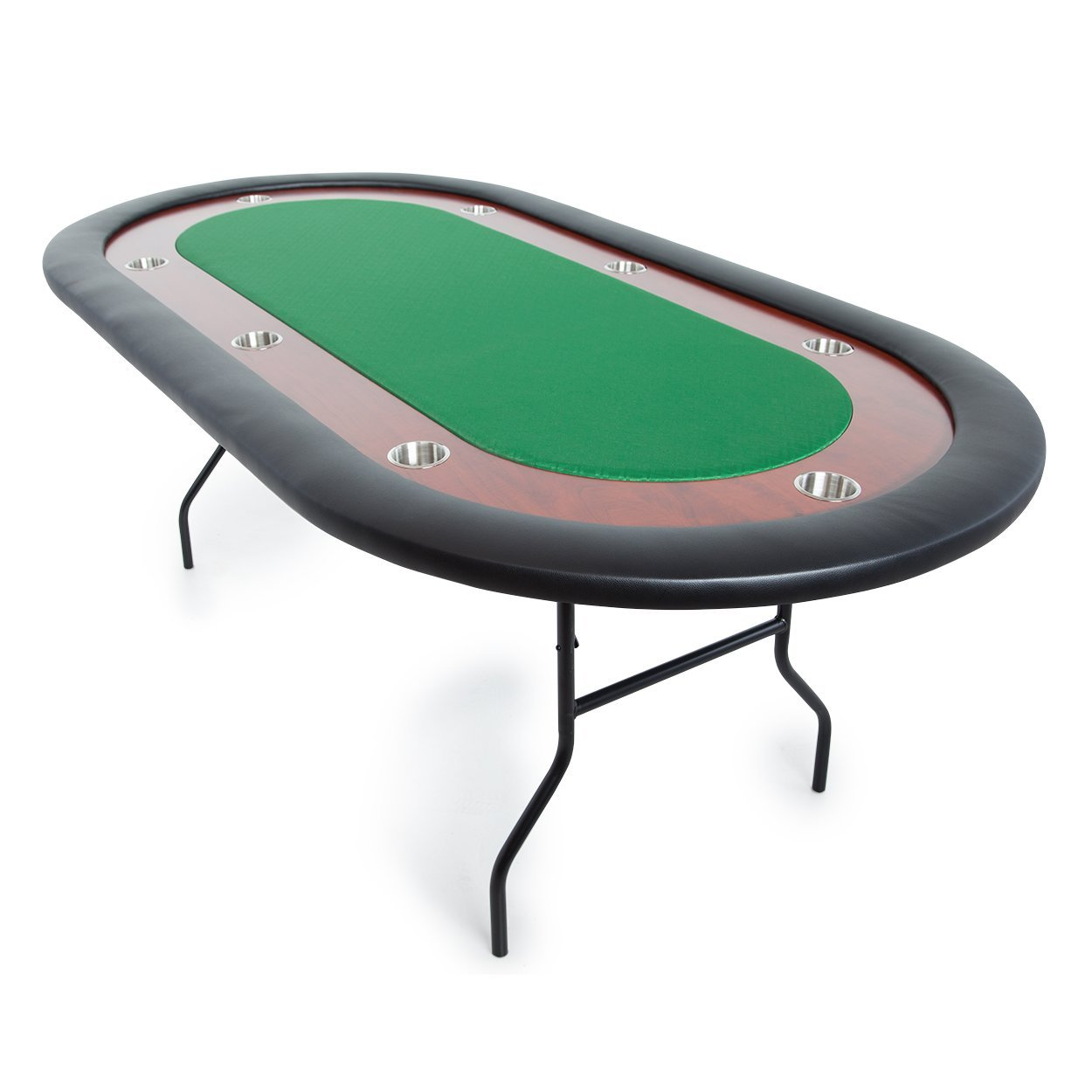 BBO Poker Ultimate Jr. Folding Poker Table for 8 Players with Green Speed Cloth Playing Surface, 82 x 44-Inch Oval