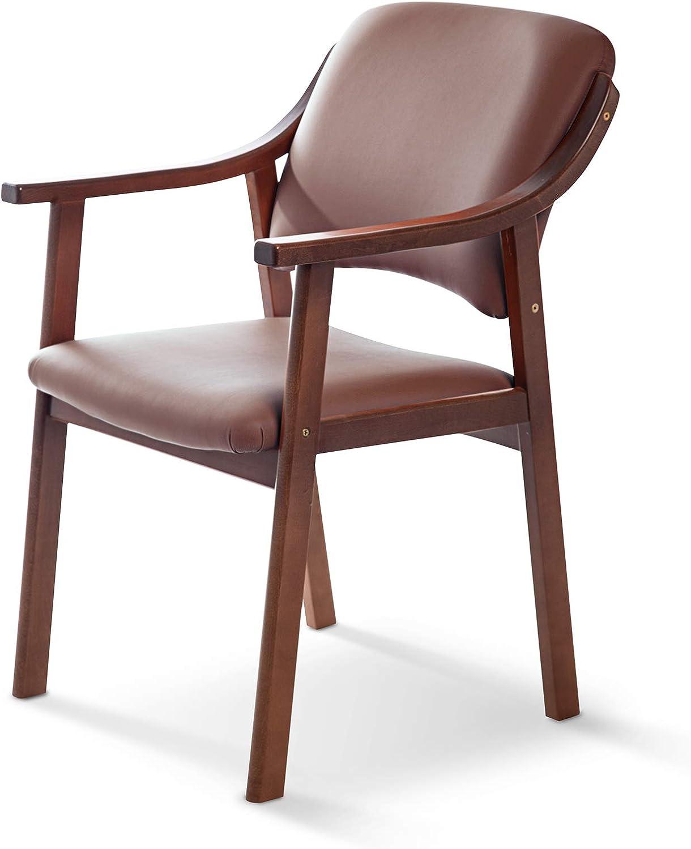 Silla de Madera de Haya, Polipiel Color Chocolate. Sillas para Comedor/Salon/habitacion | Silla geriatrica
