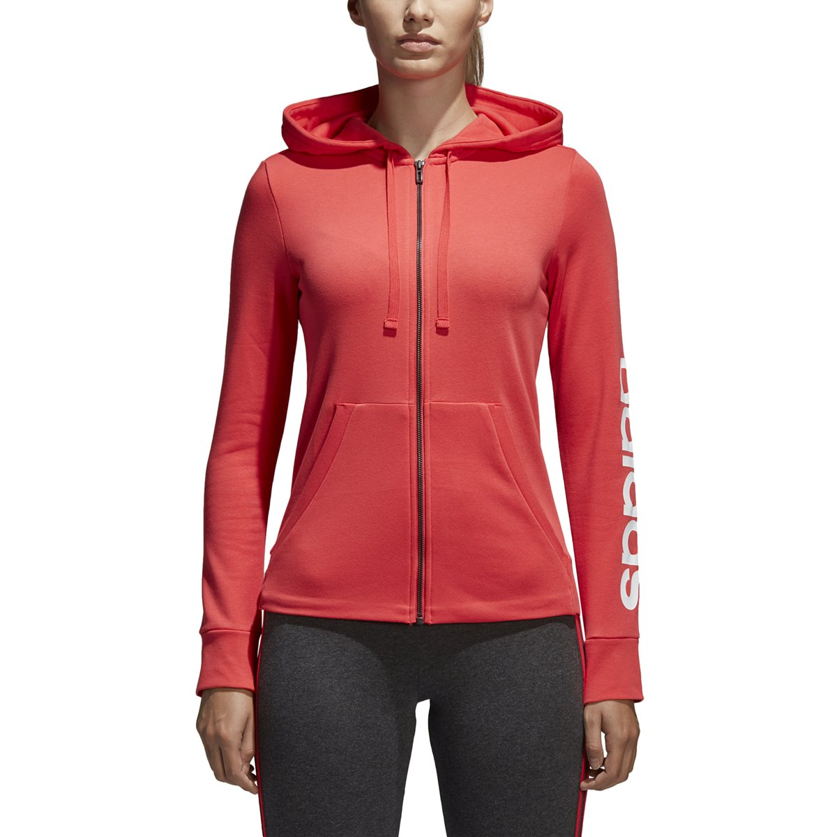 adidas Women's Essentials Linear Full Zip Fleece Hoodie, Real Coral/White, X-Small
