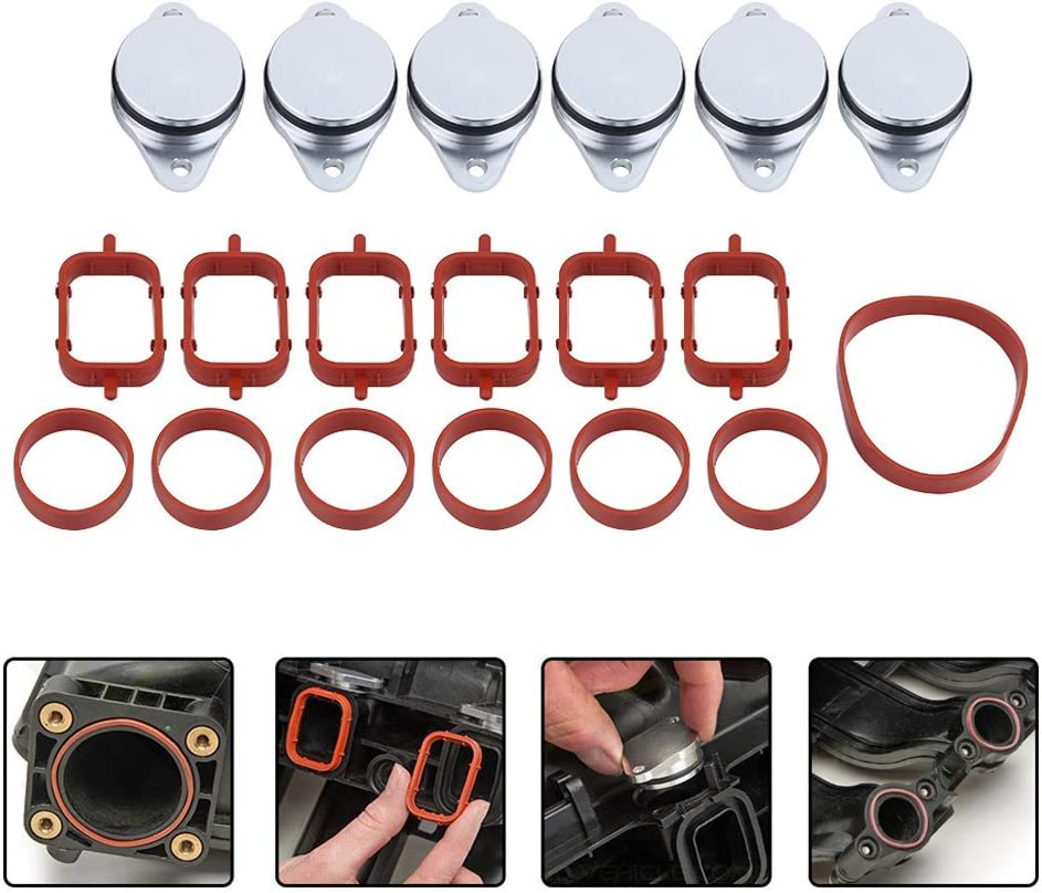 6 Pcs Terisass Swirl Flap Blanks 22mm Car Engine Intake Manifold Diesel Swirl Flap Blanks Repair Kit Intake Gaskets Repair Bung Swirl Flaps Delete Removal Blanks Plugs Replacement Fits for M57 M57D25