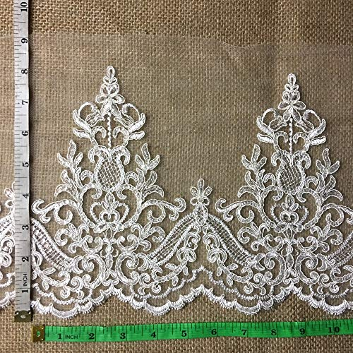 By The Yard, Alencon Bridal Mesh Lace Trim, Corded and Sequined, EXCELLENT QUALITY,WHITE, 9