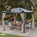 Bali Outdoor 10 x 10 Foot Black Rust Proof Aluminum Framed Hardtop Gazebo with Brown Curtains