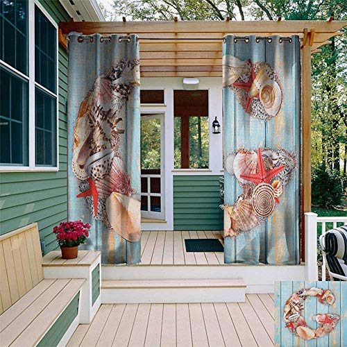 leinuoyi Letter G, Outdoor Curtain Wall, Nautical Theme with Marine Animals Invertebrates Seashell Starfish, for Privacy W84 x L96 Inch Pale Blue Ivory Dark Coral